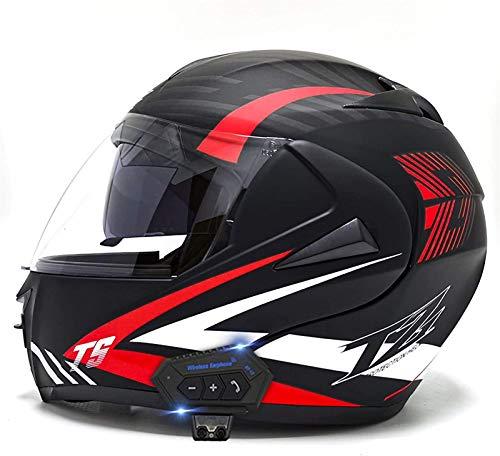 Feeyond Casco Bluetooth para motocicleta, modular tipo flip-tipo doble visera completa, casco certificado DOT, sistema integrado de comunicación de intercomunicación, C,L