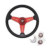 "JQTUNING Universal Racing Steering Wheel 13.8""/350mm 6 Bolts Grip Vinyl..."