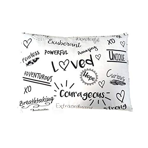 Kids Toddler Pillowcases Set, 1 Baby Pillow with 1 100% Natural Pillow Covers 18x13 inches Machine- Washable for Travel, Toddler Cot, Bed Set (Letter Pattern)