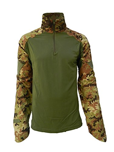OUTLET MILITARY Maglia Combat Shirt Militare Verde - Vegetato (XL)