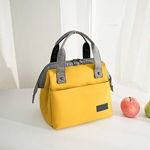 WH-IOE Lunchtasche DREI-Schicht isoliert transportable Mittagessen-Beutel for Kinder und Erwachsene Multicolor Optional für Lebensmitteltransport Arbeit Picknick (Color : Yellow, Size : 24x17x22cm)