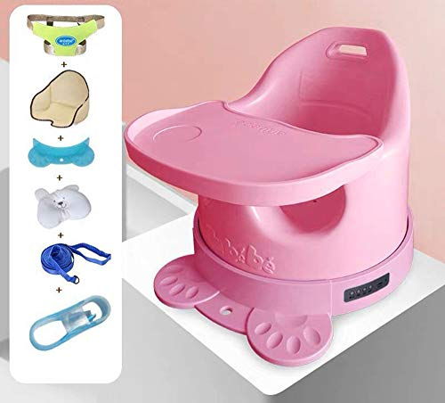 Zingende multifunctionele eetkamerstoel, Bluetooth-verbonden kinderstoel, kinderstoel met afneembaar blad, wasbare kinderstoel, 3-punts veiligheidsgordel,B