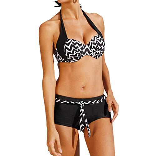 Damen Badeanzug Gepolstert Bikini Set Tiefer V Ausschnitt Sportlich Zweiteiliger Neckholder Bademode Push Up Bikinioberteil mit Shorts Strandbikini,High Waist Wickel Bikinihose Zweiteiliger swimwear