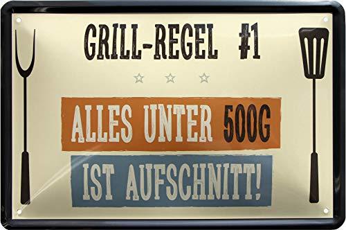 Grill-Regel: Alles unter 500 gr ist Aufschnitt 20x30 cm Deko Blechschild 863