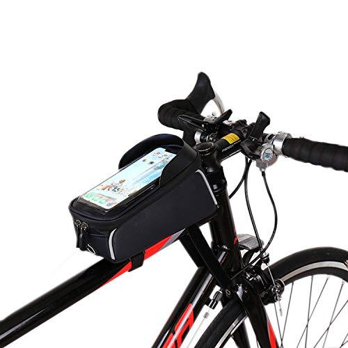 Savin Bolsa de Marco Frontal para teléfono de Bicicleta Paquete de Montaje para teléfono de Ciclismo con Tubo Superior Impermeable para Bicicleta con Pantalla táctil de Gran Capacidad para teléfono