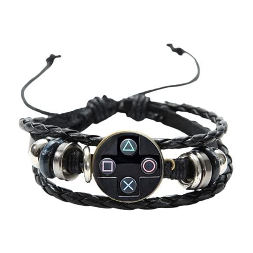 Pulsera de cuero para hombre con controlador de videojuegos, hecha a mano, cristal con gemas artísticas, para niños, idea de regalo