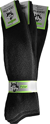 Polar Husky 3 Paar Sehr warme Socken mit Vollplüsch & Schafwolle/Nie wieder kalte Füße! Farbe Tiefschwarz/lang Größe 43-46