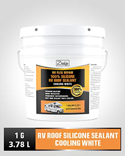 Ziollo RV Flex Repair 100% Silicone RV Roof Sealant Coating | 1 Gallon | Cool White | for EPDM Rubber, Metal, Fiberglass | Waterproof | Motorhome, Trailer, Camper (Cooling White, 1 Gallon)