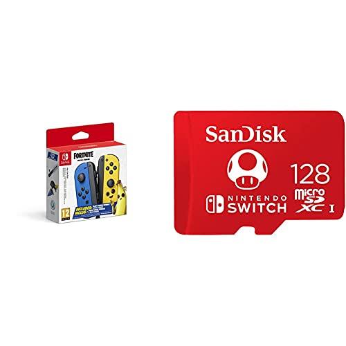 Joy-Con 2er-Set Fortnite Edition & SanDisk microSDXC UHS-I Speicherkarte für Nintendo Switch 128 GB (V30, U3, C10, A1, 100 MB/s Übertragung, mehr Platz für Spiele)