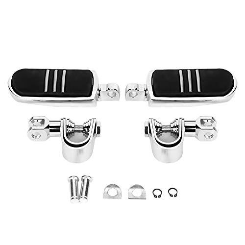 Qiilu Poggiapiedi per moto , accessorio per pedale per poggiapiedi universale per moto in alluminio 2 pezzi adatto per(argento)