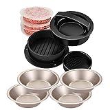 CANDeal Juego para hacer hamburguesas, 4 moldes para hornear pan, prensa para hamburguesas rellenas, juego para hacer hamburguesas rellenas antiadherentes con 100 papeles para hamburguesas gratis