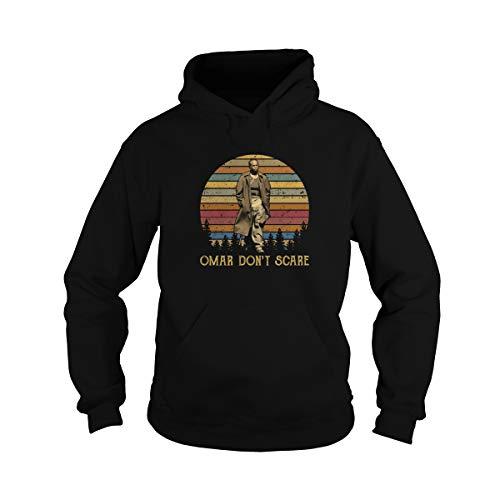 Uzubunki Unisex Omar Don't Scare Vintage Adult Hooded Sweatshirt (Black, Medium)