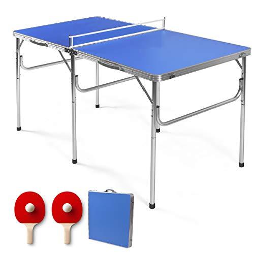 RELAX4LIFE Tischtennisplatte mit Netz, Tischtennistisch mit 2 Bällen & 2 Schlägern, klappbarer Tisch für Tischtennis zum schnellen Aufbau, tragbarer Freizeittisch für Innen- und Außenbereich, blau