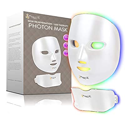 Project E Beauty Photon Skin Rejuvenation Face & Neck Mask | Wireless LED Photon Red Blue Green Therapy 7 Color Light Treatment Anti Aging Acne Spot Removal Wrinkles Whitening Facial Skin Care Mask