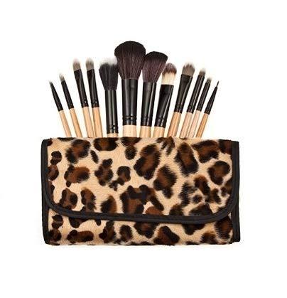 Leopard Pattern Ensemble De 12 Maquillage Pinceaux - Poils En Nylon, Virule En Aluminium, Manche En Bois Naturel, Étui En Cuir by DELIAWINTERFEL