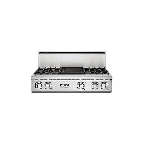 Viking VGRT7364GSSLP Professional 7 Series Cooktop 1 Continuous grate design allows easy movement of pots and pans from burner to burner Led lights accent the control panel and illuminate knobs Three burner sizes efficiently deliver heat to any size cookware