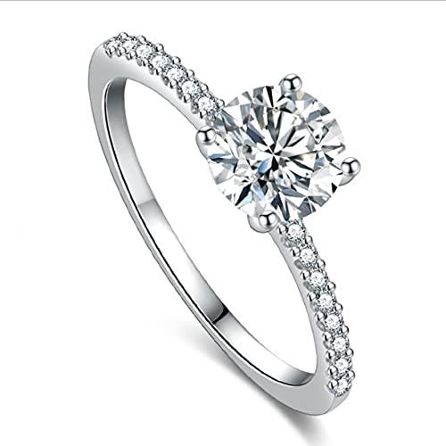 Surgewavelv Anillo Redondo de circonita cúbica de un Solo Diamante Anillo de Cuatro Puntas Regalo de San Valentín Anillo de Regalo de cumpleaños para Mujer - Plata