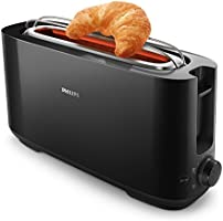 Philips HD2590/90 rooster brood Daily zwart, 1 gleuf extra lang, knoop warmhoudrooster