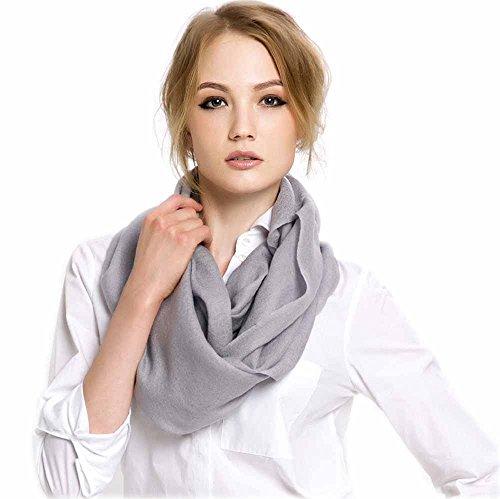 Warmwinterscraves Foulard soie cachemire laine d'agneau à franges pour femme 70 x 200 cm L gris