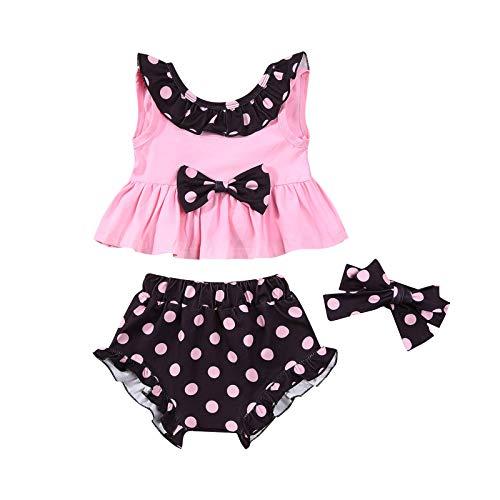 Conjunto de ropa de tres piezas para niñas con cuello redondo sin mangas, pantalones cortos y tocado