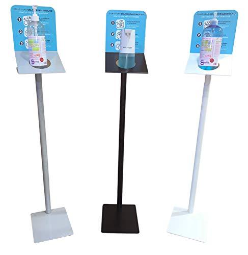 Soporte dispensador de pie para gel desinfectante, jabones de mano, botellas higiénicas. Columna metálica específica para oficinas, fábricas, centros comerciales, restaurantes. Fabricado en España…