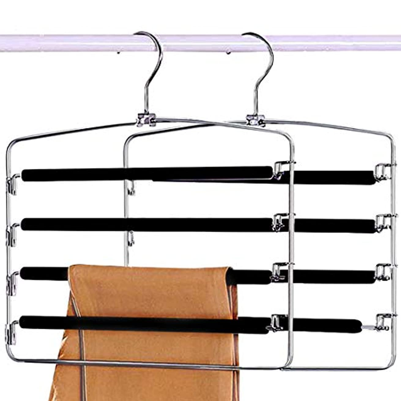 Sunblo Space Saving Pants Hangers 2 Pack, Strong and Durable Anti-Rust Metal Slack Hangers, Multi Layers Swing Arm Pants Hangers, Non-Slip Foam Padded for Trousers, Jeans Etc