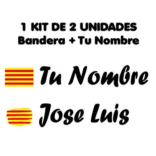 Pegatina Vinilo Bandera Cataluña + tu Nombre - Bici, Casco, Pala De Padel, Tablas Skate, Coche, Moto, etc. Kit de Dos Vinilos (Pack Fuentes 1)