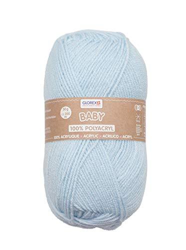 Glorex Hilo de lana para bebé 100% acrílico, hipoalergénico, resistente a la saliva, libre de...