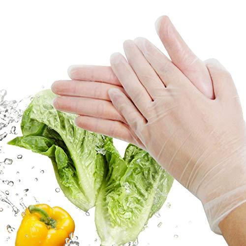 Ywlanlantrading Handschuh Nitril-Einweghandschuhe, puderfrei, Handschuhe für Lebensmittelqualität, latexfrei, 100 St. Extra große Größe, transparent (Color : Clear, Size : M)