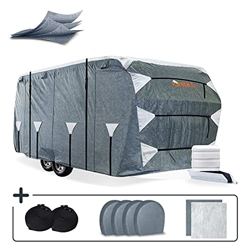 KING BIRD Upgraded Travel Trailer RV Cover, Extra-Thick 5 Layers Anti-UV Top Panel, Durable Camper Cover, Fits 27'- 30' Motorhome -Breathable, Waterproof, Rip-Stop with 2Pcs Straps & 4 Tire Covers