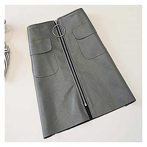 DIAOD Falda larga de otoño e invierno para mujer, bolsillo de cintura alta, talla grande, bolso suelto, falda a la cadera, falda corta (Color : Sky blue, Size : XL code)