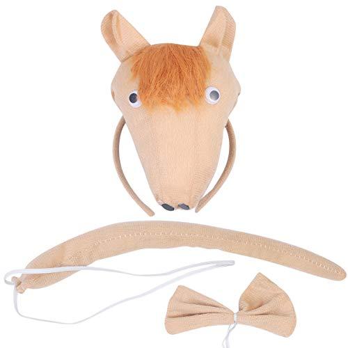 Lurrose - Juego de 3 diademas con corbata y cola para disfraz de caballo