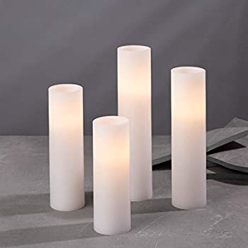 Flameless Candle Set 2 Inch Diameter - Battery Operated 4 Pack Slim Pillar Candles Flickering LED Spring Decor White Wax - Batteries & Remote Control Included…