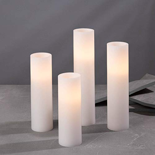 Flameless Candle Set, 2 Inch Diameter - Battery Operated, 4 Pack, Slim Pillar Candles, Flickering LED, Spring Decor, White Wax - Batteries & Remote Control Included