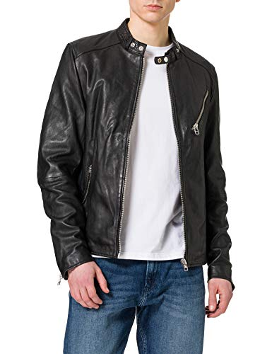 Goosecraft GC Belfast Biker Leather Jacket, BLACK, M para Hombre