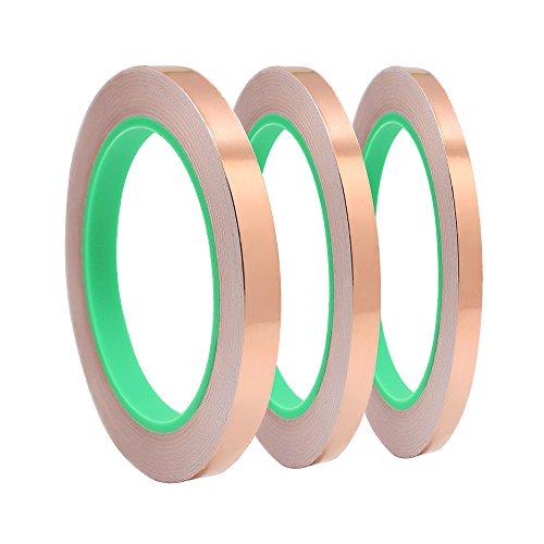 Meetory 3 x Kupfer-Folien-Klebeband, Abschirmung mit Dual-leitenden Kleber, für EMI-Abschirmung, Handwerk, elektrische Reparaturen-leitende Kleber, 5 mm/6 mm/12 mm