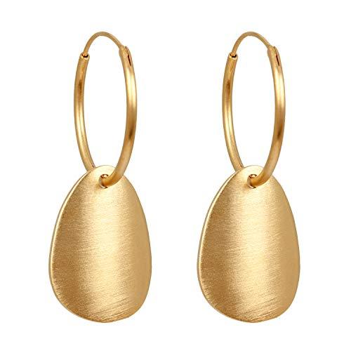 Pernille Corydon Ohrringe Damen Gold - Creolen mit Anhänger Sky Hoops Silber Vergoldet - E025g
