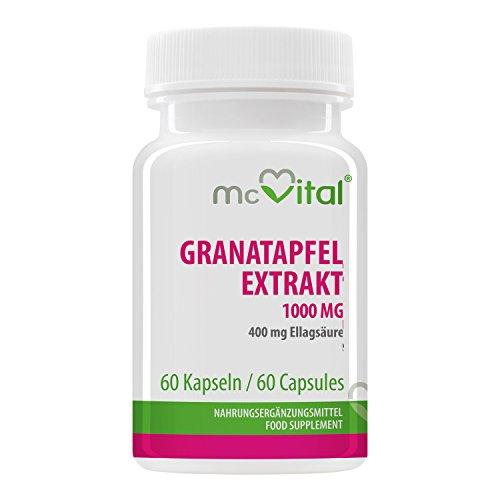 McVital Granatapfel Extrakt 1000 mg • 60 Kapseln • 400 mg Ellagsäure • Mit Polyphenolen • Antioxidativ