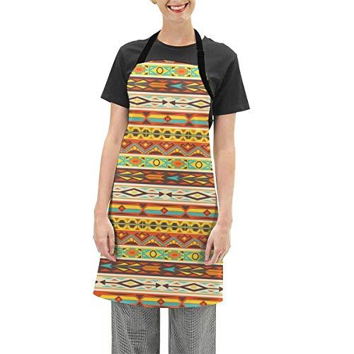 N\A Native American Pattern Borders Tablier Tablier de Cuisine Tablier de Cuisine réglable étanche Tablier de Cuisson pour Femmes Hommes