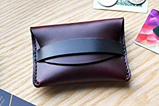Burgundy Flap Wallet in Horween Horse Chromexcel leather. Small purse, cash and card holder with Burgundy strap