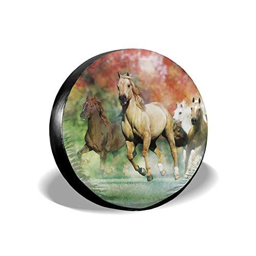 Xhayo Cubierta universal para neumáticos de repuesto con diseño de caballo amarillo, impermeable, a prueba de polvo, para remolques, RV, SUV y muchos vehículos (negro, diámetro 14-17 pulgadas)