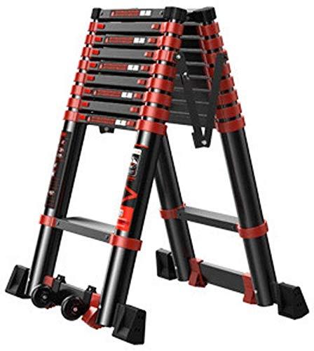 ALYR Ausziehleiter Alu, faltbar Leiter vielseitig Trittleiter tragbarer Leiter für Heim Loftbüro 150kg / 330lb belastbar,5.5M