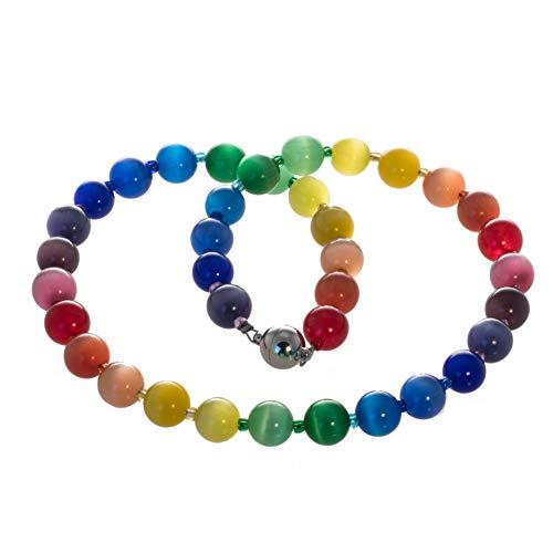 Bella Carina Regenbogen Kette mit Katzenaugen Glasperlen Perlenkette, Edelstahl Magnetverschluss (55)