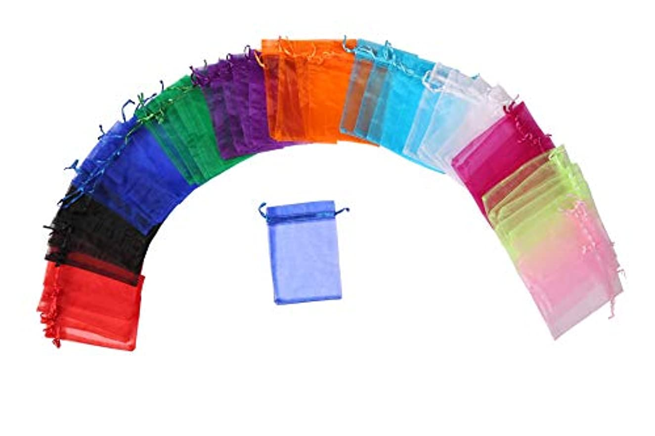 LANGSHA 200Pcs Multi-Colored Sheer Drawstring Organza Jewelry Pouches Wedding Party Christmas Favor Gift Candy Bags (5