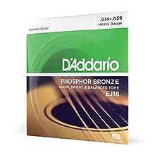 Juego de cuerdas para guitarra acústica Hechas de material de bronce de fósforo Producen un tono acústico cálido, brillante y buen equilibrado Tamaño: .014-.059