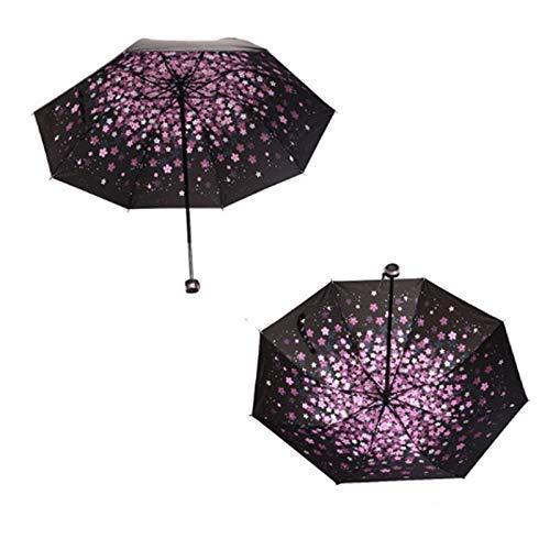 Chunjiao DREI Falten schwarzen Regenschirm Sonnenschirm Regenschirm Ganzkörper-Regenschirm Trendy Regenmantel Sonnenschutz und wasserdicht, Rosa paraguas