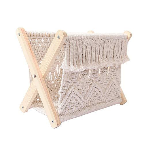thorityau - Estante para revistas de cuerda de algodón, para libros, periódicos, organizador de toallas, cesta de almacenamiento para dormitorio, sala de estar y oficina