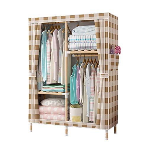 Protable Not-Woven Cloth Wardrobe, Assembled Storage Armoire Closet Organizer Shelf Garment Rack for Bedroom-Khaki 100x45x160cm(39x18x63inch)