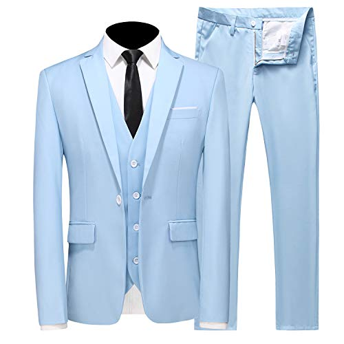 MOGU Mens Slim Fit 3 Piece Suit Blazer Jacket Pants and Vest Set US Size 38 Light Blue