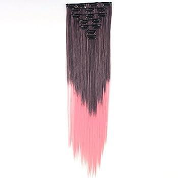 Miss U Hair 24  130g 7pcs/set Women Long Straight Ombre Black Pink Hair Full Head Clip in Hair Extension  2#T1632